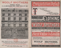 Advert for Woolfe Brothers, Tailors & Clothiers